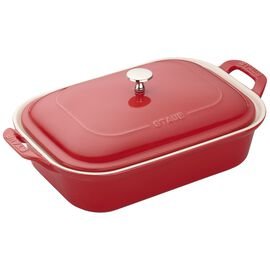 Staub Ceramics, 12-inch x 8-inch Rectangular Covered Baking Dish, Cherry