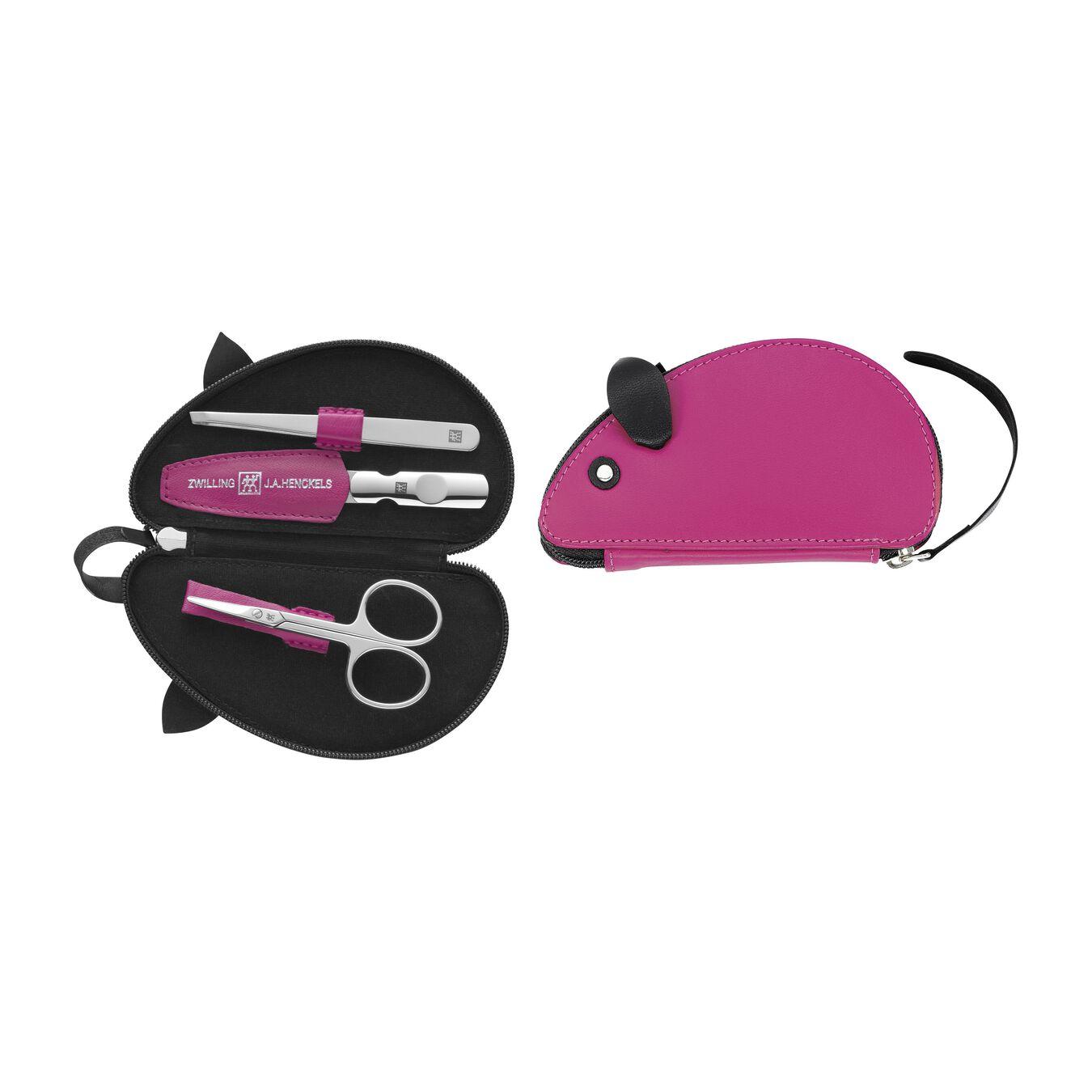 Reißverschlussetui, 3-tlg | Ziegenleder | Pink,,large 1