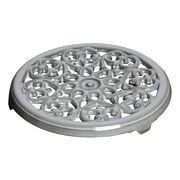 23 cm round cast iron Trivet, lily decal, graphite-grey,,large