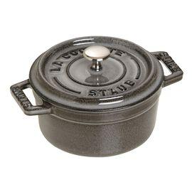 Staub La Cocotte, Mini Cocotte 10 cm, redondo, Cinza grafite, Ferro fundido