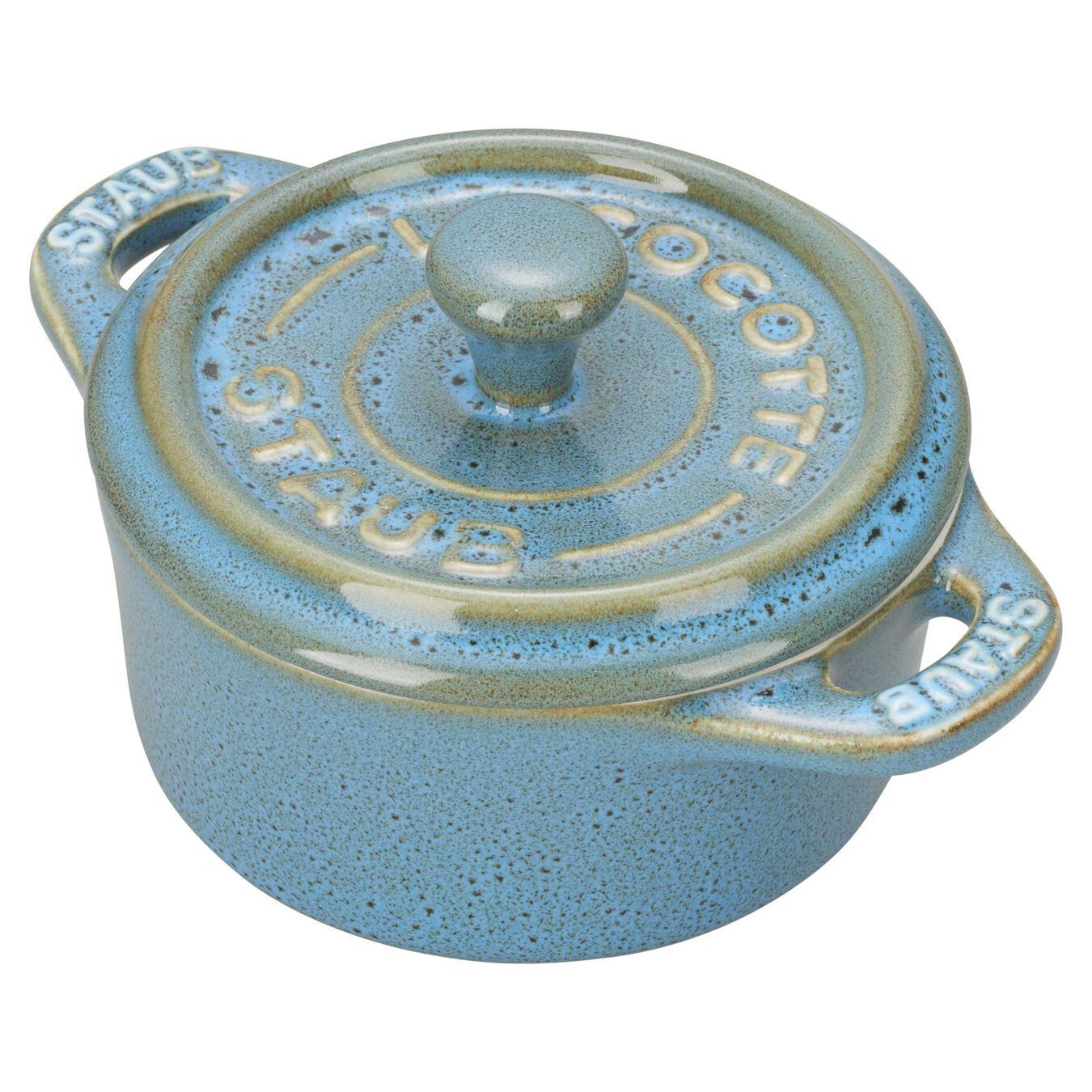 3 Piece Ceramic Cocotte set, ancient-turquoise,,large 2