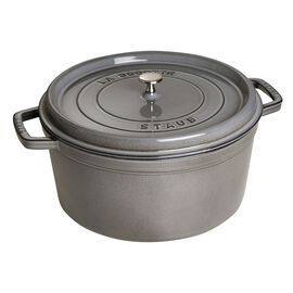 Staub Cast Iron, 13.25-qt Round Cocotte - Graphite Grey