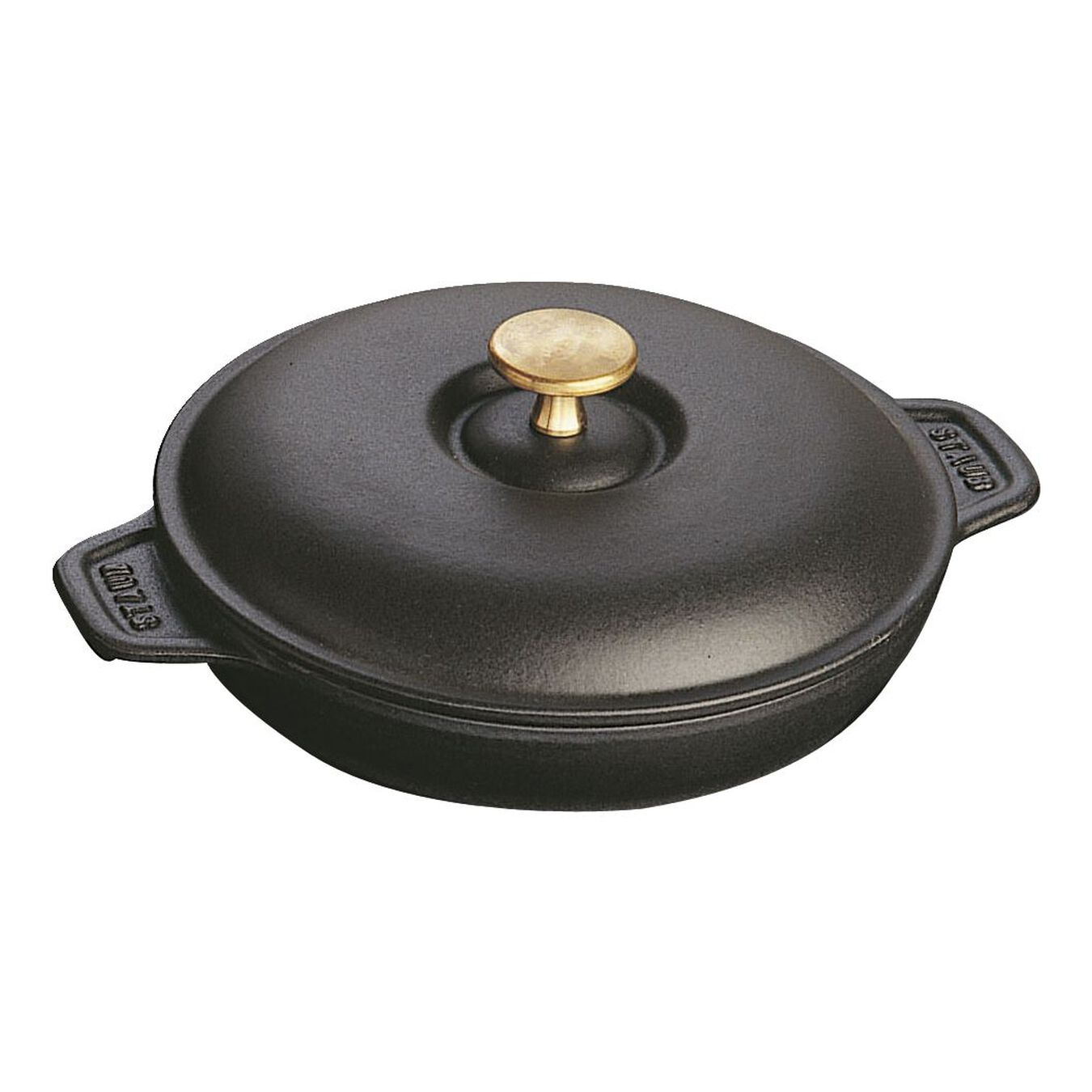 Cast iron round Oven dish with lid, Black,,large 1