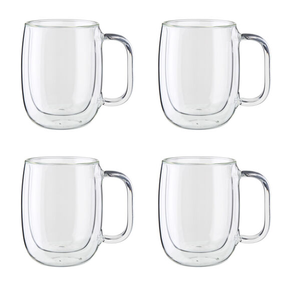 4-pc Double-Wall Glass Coffee Mug Set,,large