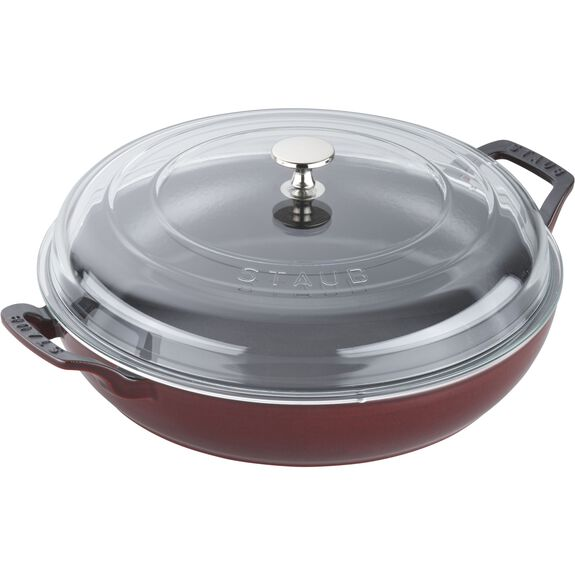 12-inch Enamel Braiser with Glass Lid,,large 2