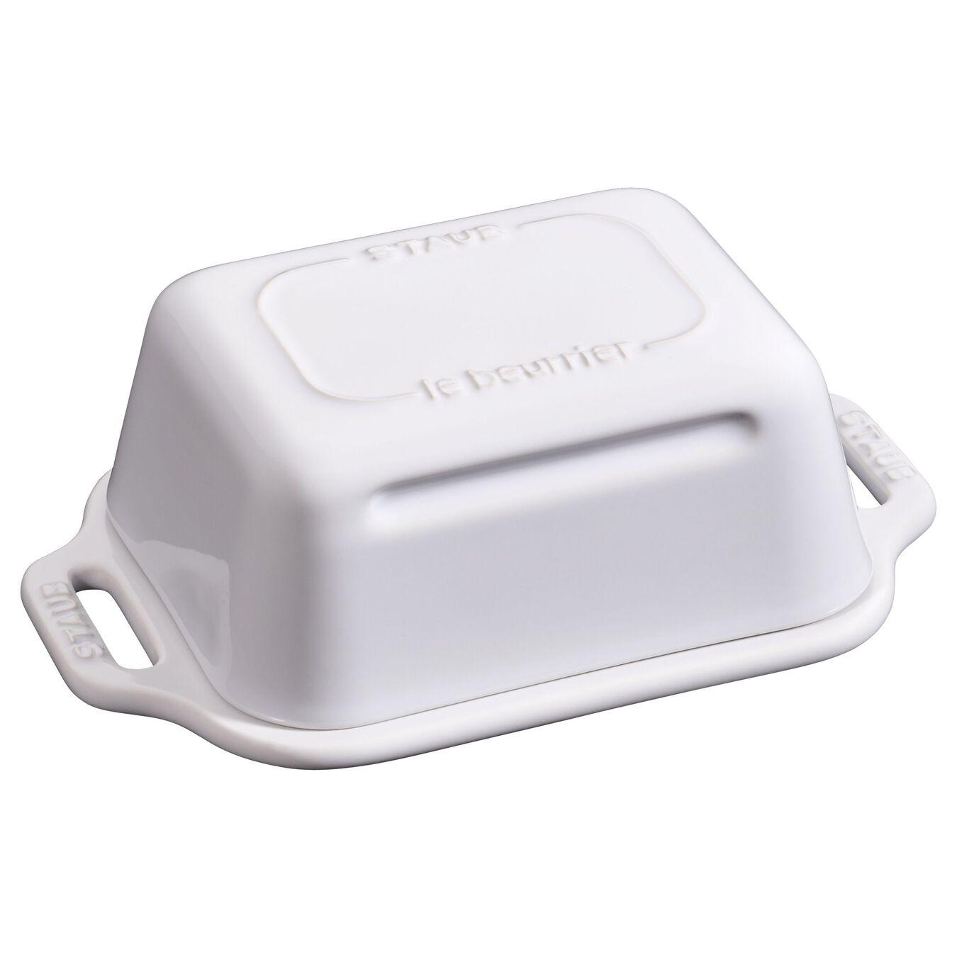 Piattino da burro quadrato - 19 cm, bianco puro,,large 1