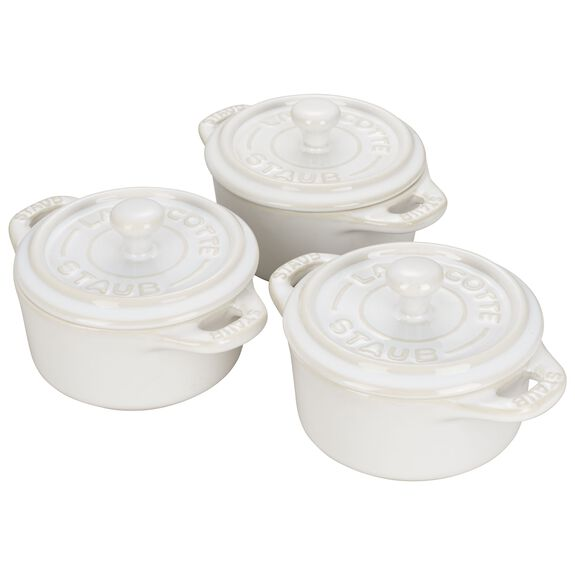 3-pc Mini Round Cocotte Set - Rustic Ivory,,large 3