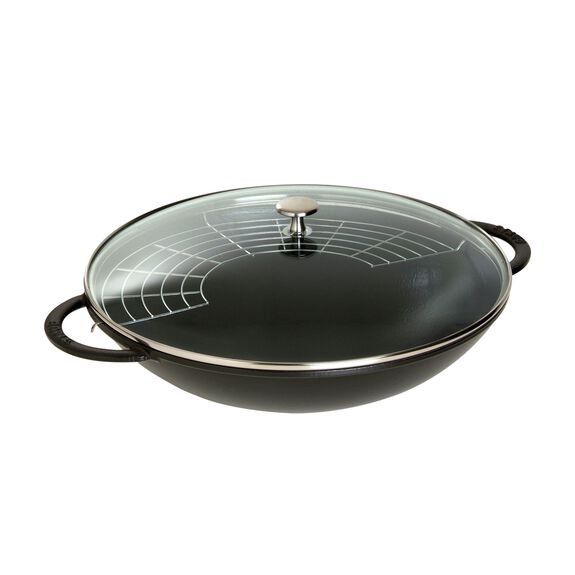 14.5-inch Enamel Wok with glass lid, Black - Visual Imperfections,,large