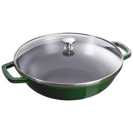 Staub Cast Iron, 12-inch Enamel Wok with glass lid, Basil