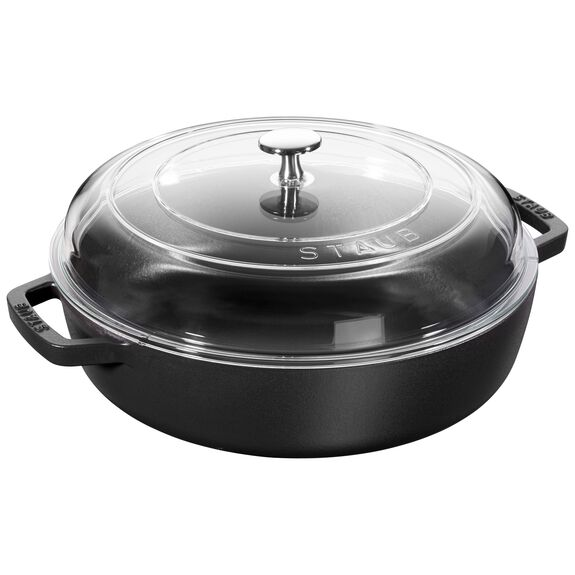 28-cm-/-11-inch Enamel Saute pan with glass lid,,large