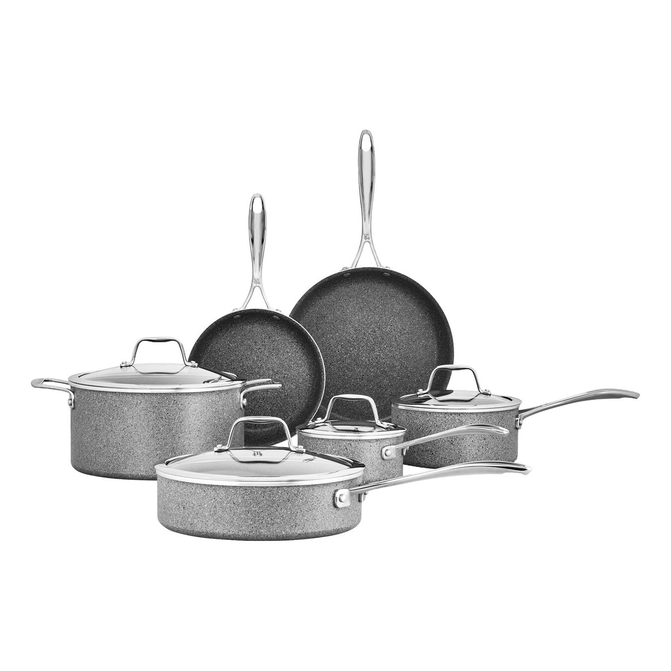 Pot set, 10 Piece | round | aluminium,,large 1