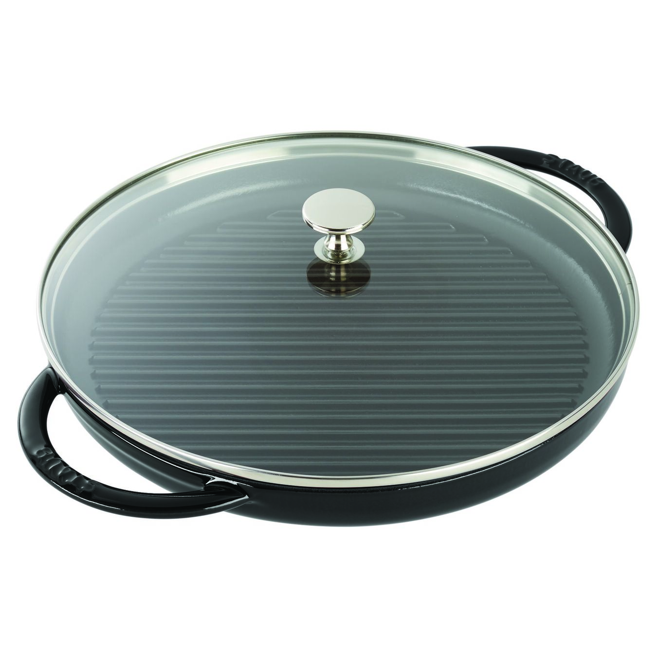 round, Grill pan with glass lid, black matte,,large 3