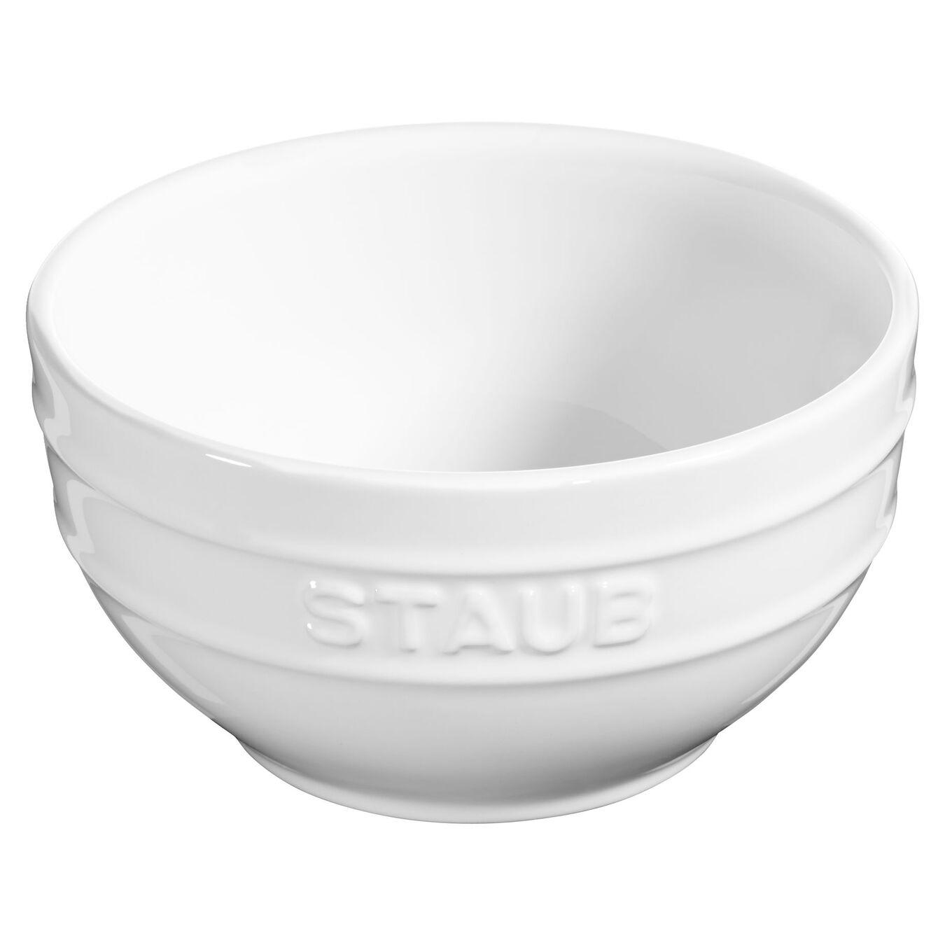14 cm Ceramic round Bowl, Pure-White,,large 1