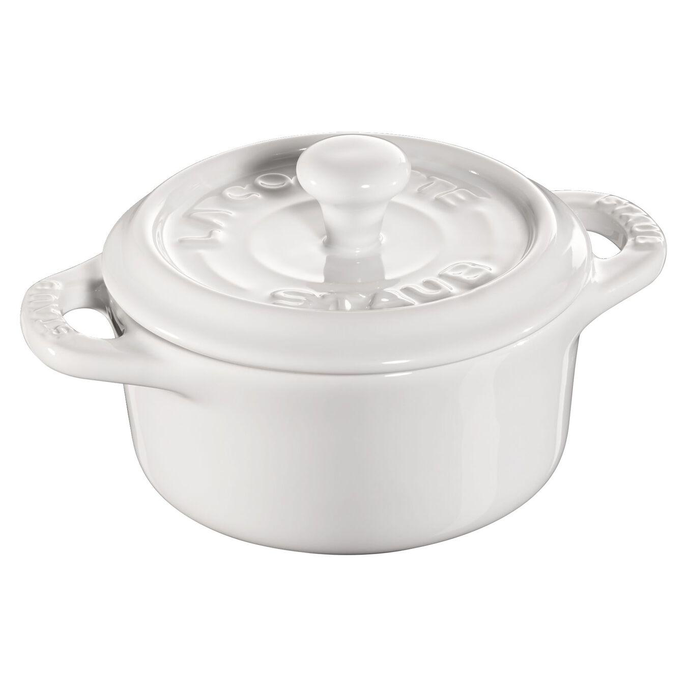Mini Cocotte 10 cm, Rond(e), Blanc pur, Céramique,,large 1