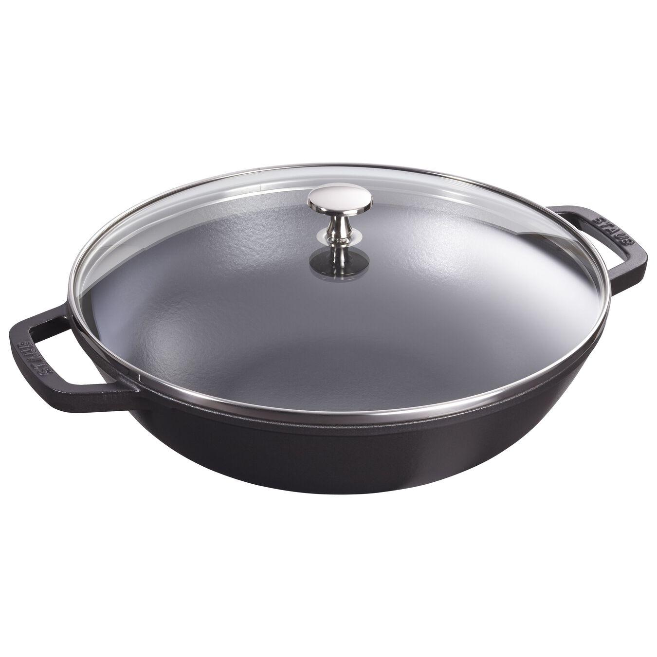 30 cm Cast iron Wok with glass lid, Black,,large 1