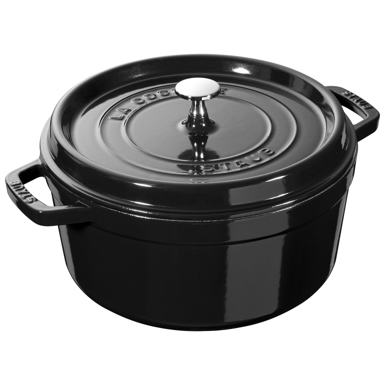 4 qt, round, Cocotte, shiny black - Visual Imperfections,,large 1