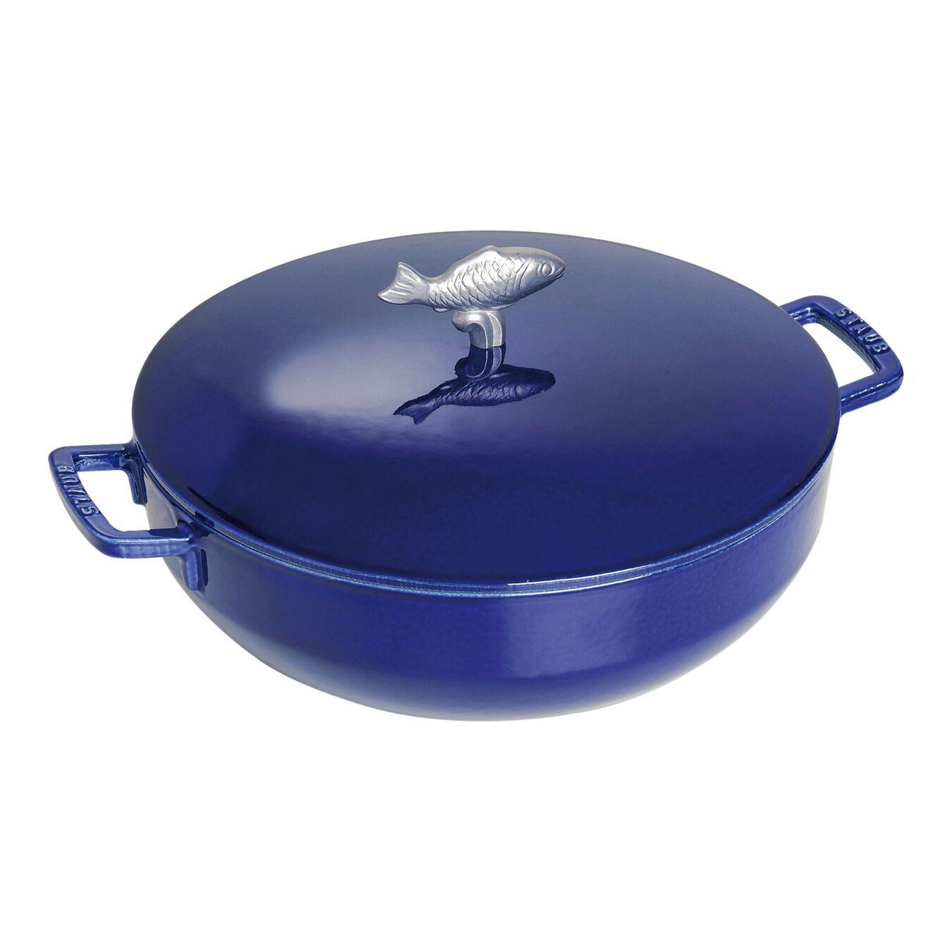 Tegame bouillabaisse rotondo - 28 cm, blu scuro,,large 1