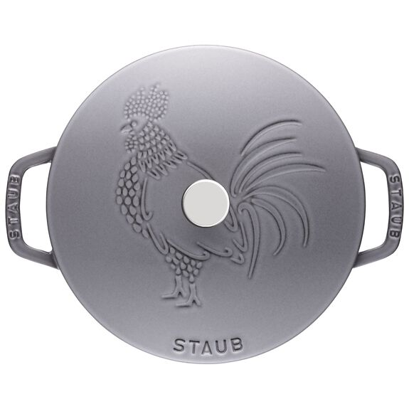 3.75-qt round French oven rooster, Graphite Grey,,large