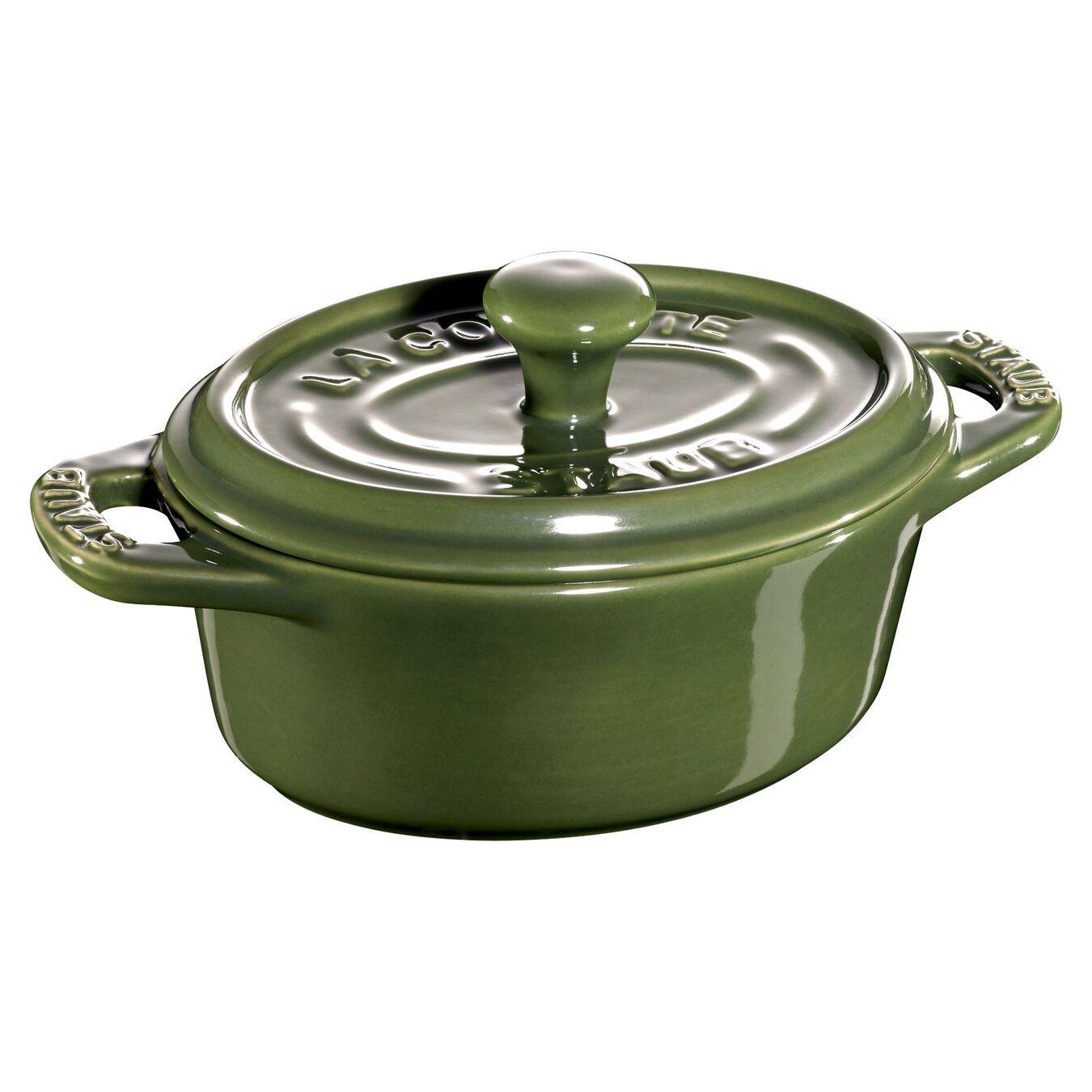 Mini Cocotte 11 cm, oval, verde basil, Cerâmica,,large 1