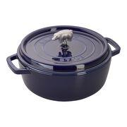 Staub Cast Iron, 6-qt Cochon Shallow Wide Round Cocotte - Dark Blue