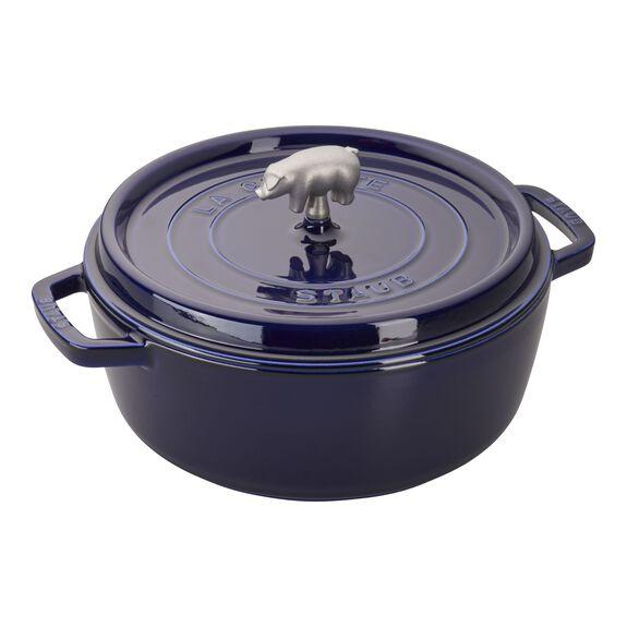 6-qt Cochon Shallow Wide Round Cocotte - Dark Blue,,large