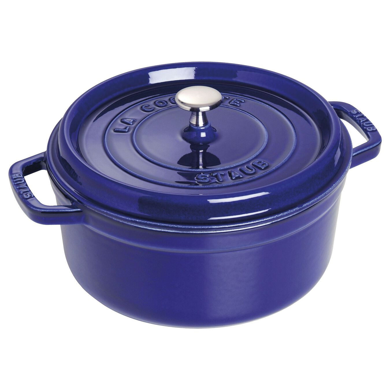 3,75 l Cast iron round Faitout, Dark-Blue - Visual Imperfections,,large 1
