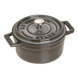 Staub La Cocotte, Mini braadpan 10 cm / 250 ml, Rond, Grafietgrijs