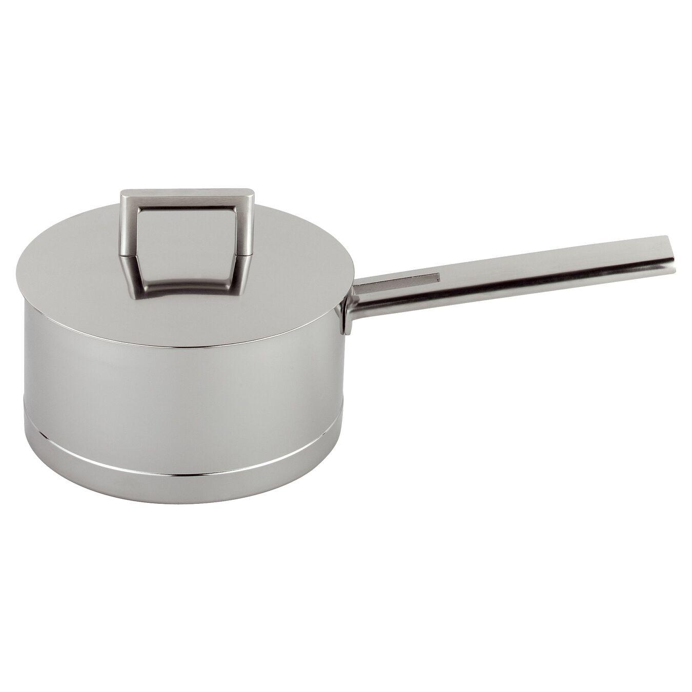 Casseruola con manico con coperchio - 16 cm, acciaio,,large 1