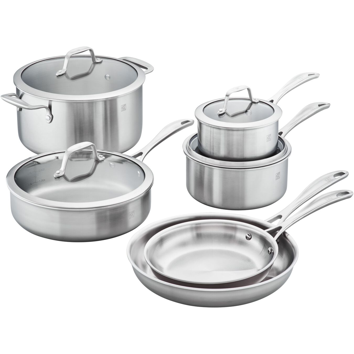 Ceramic, 10-pc, stainless steel, Cookware Set,,large 1