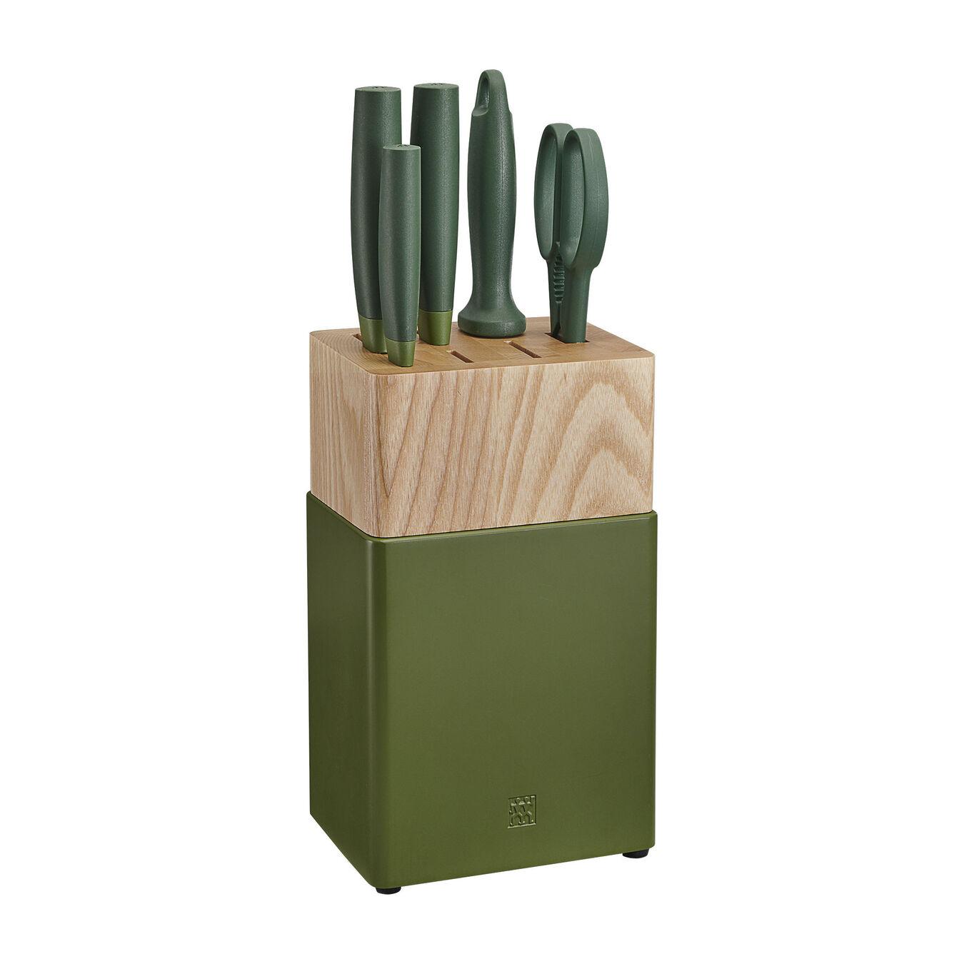 6-pc Knife Block Set - Lime Green,,large 1