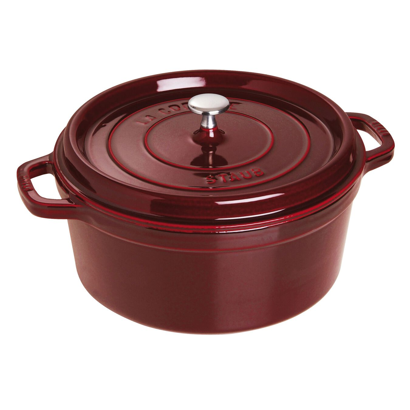 6,75 l Cast iron round Poêle à frire en fonte, Grenadine-Red,,large 1