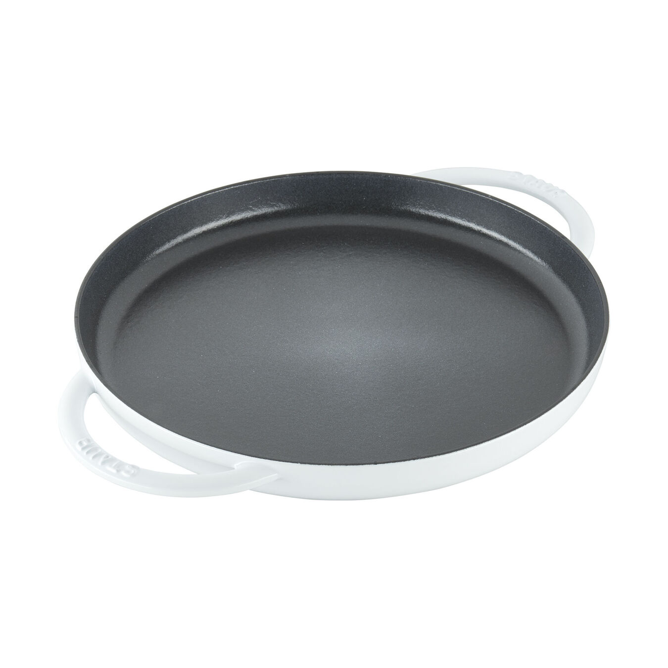 12-inch Round Double Handle Pure Griddle - White,,large 1