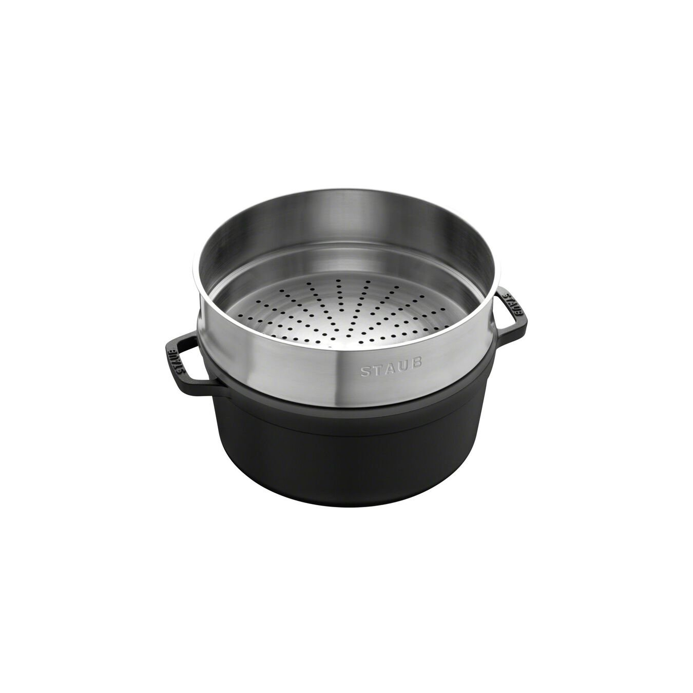 5.25 l Cast iron round Cocotte with steamer, Black,,large 2