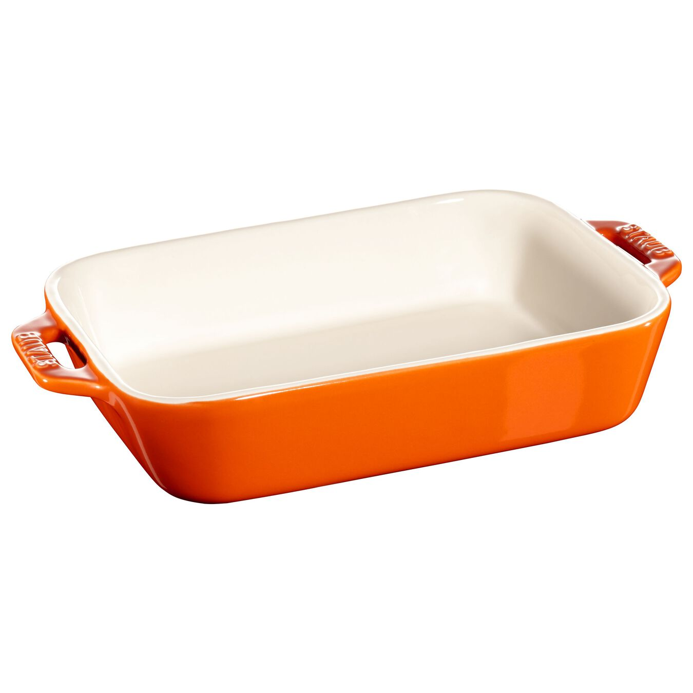 Ceramic rectangular Plat à four, Orange,,large 1