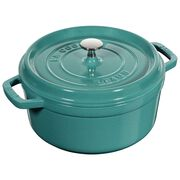Staub Cast Iron, 4-qt round Cocotte, Turquoise
