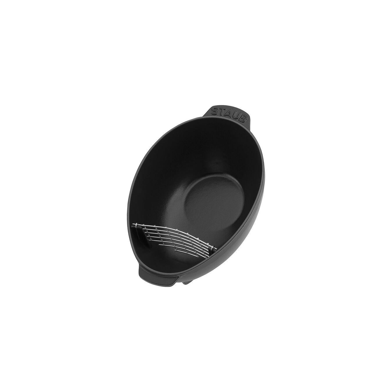 2 l Cast iron oval Mussel pot, Black,,large 2