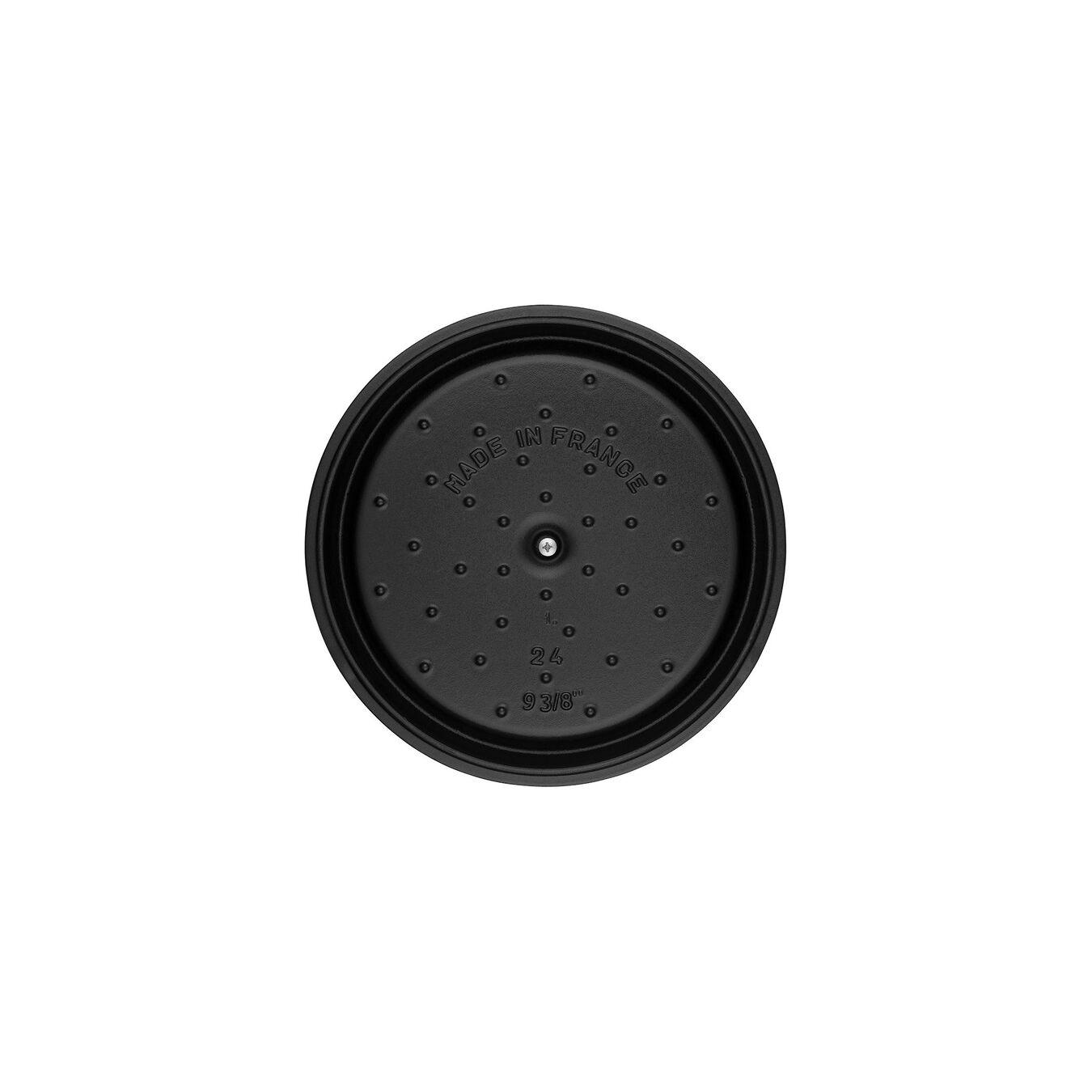 4 qt, round, Cocotte, black matte,,large 6