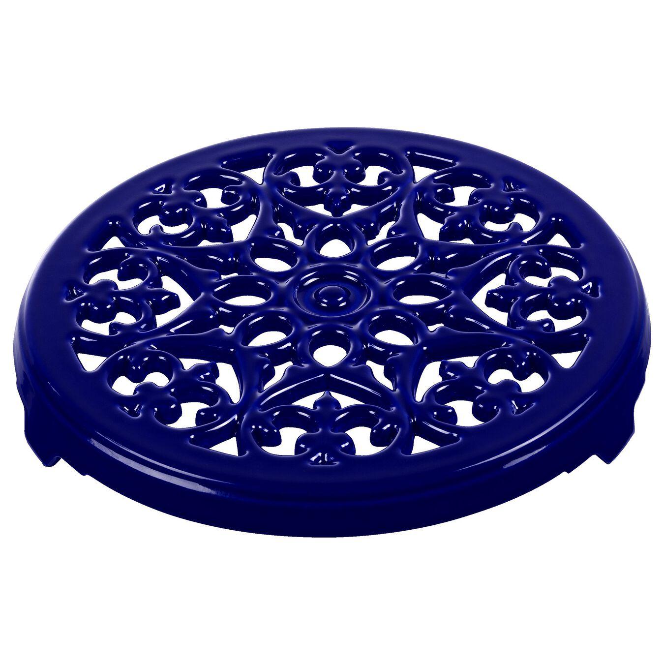Pot set, lily decal, 2 Piece | round | cast iron | dark-blue,,large 3