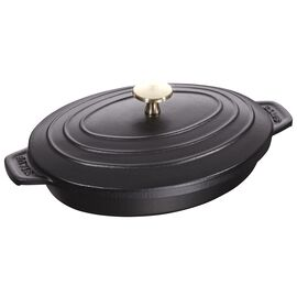 Staub Cast Iron, 9-inch x 6.6-inch Oval Covered Baking Dish - Matte Black