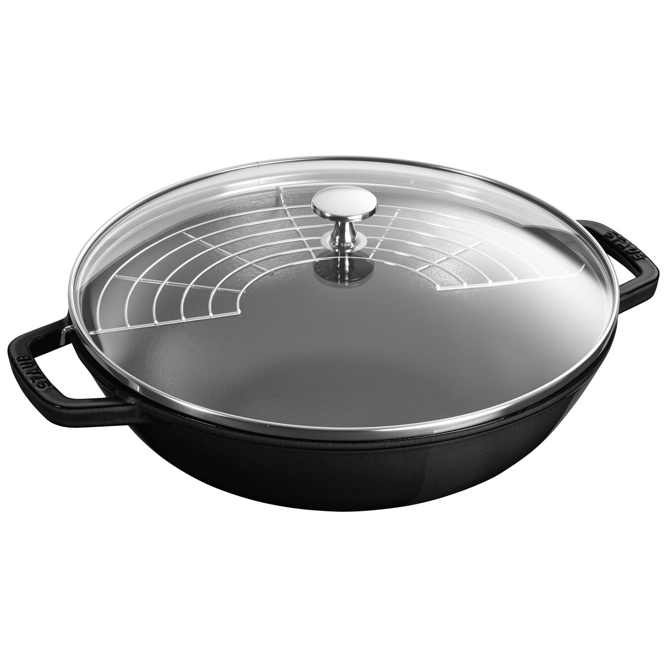 30 cm / 12 inch Wok with glass lid, black,,large 1