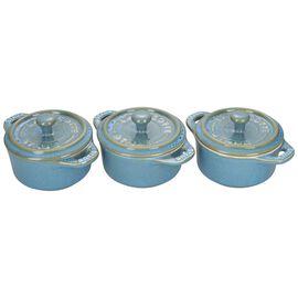 Staub Ceramics, 3-pc Mini Round Cocotte Set, Rustic Turquoise