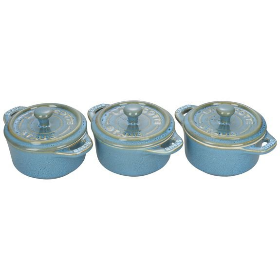 3-pc Mini Round Cocotte Set, Rustic Turquoise, , large