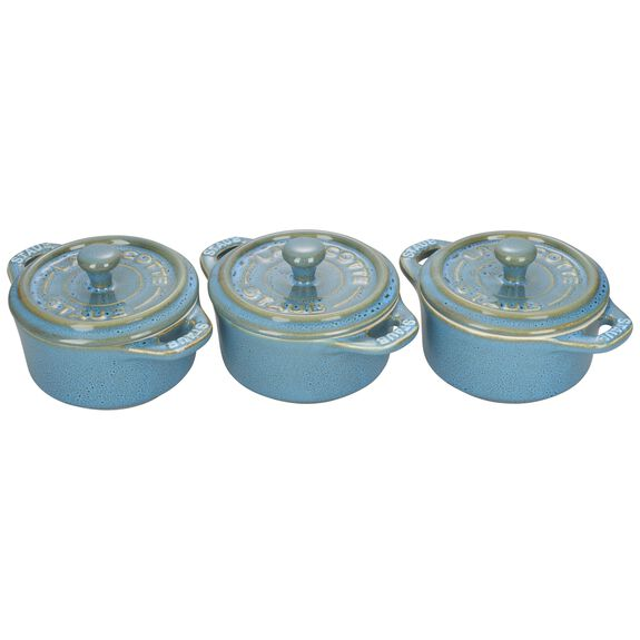 3-pc Mini Round Cocotte Set, Rustic Turquoise, , large