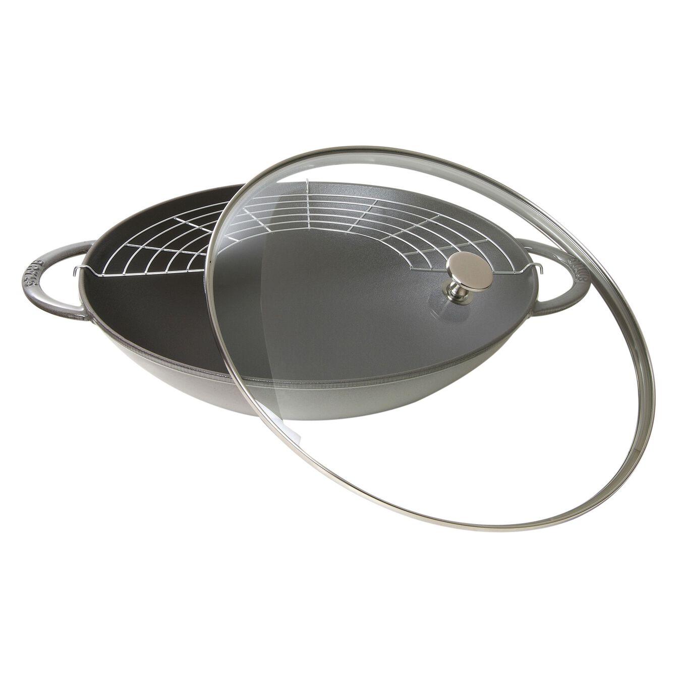 Wok con coperchio in vetro rotondo - 37 cm, grigio grafite,,large 1