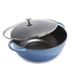 Staub Cast iron, 32 cm / 12.5 inch Cast iron Wok, ice-blue - Visual Imperfections