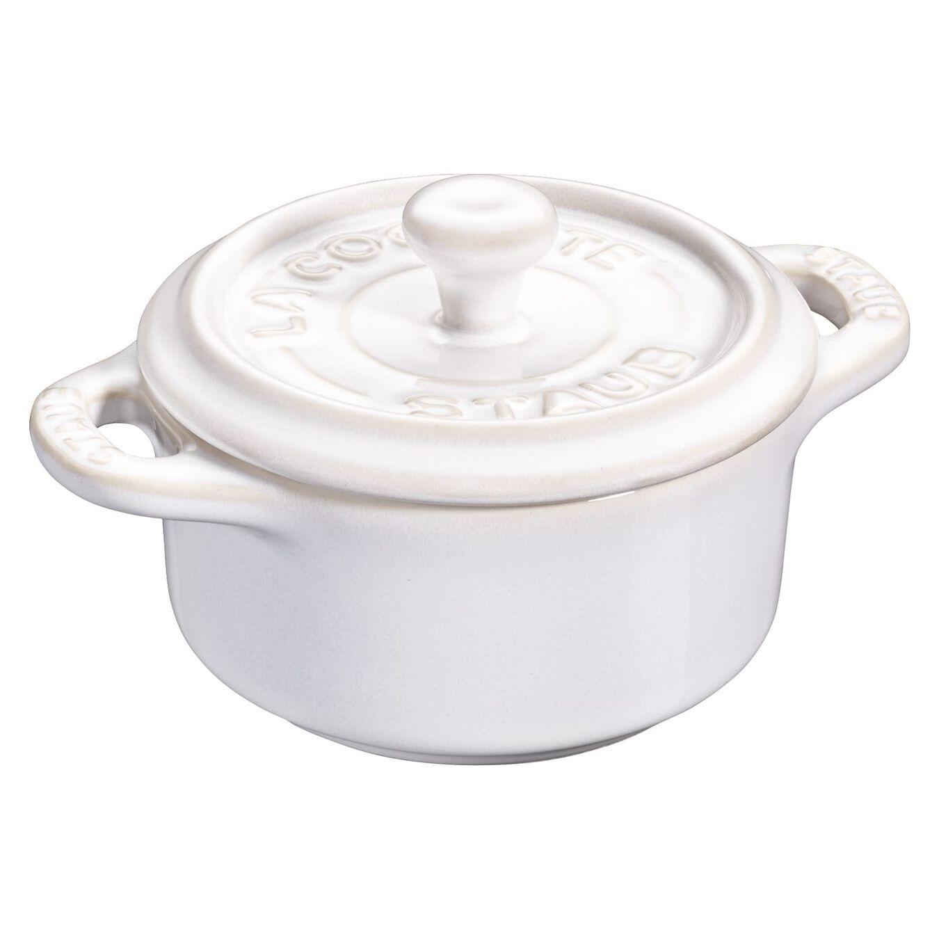 Mini Cocotte 10 cm, rund, Elfenbein-Weiß, Keramik,,large 1