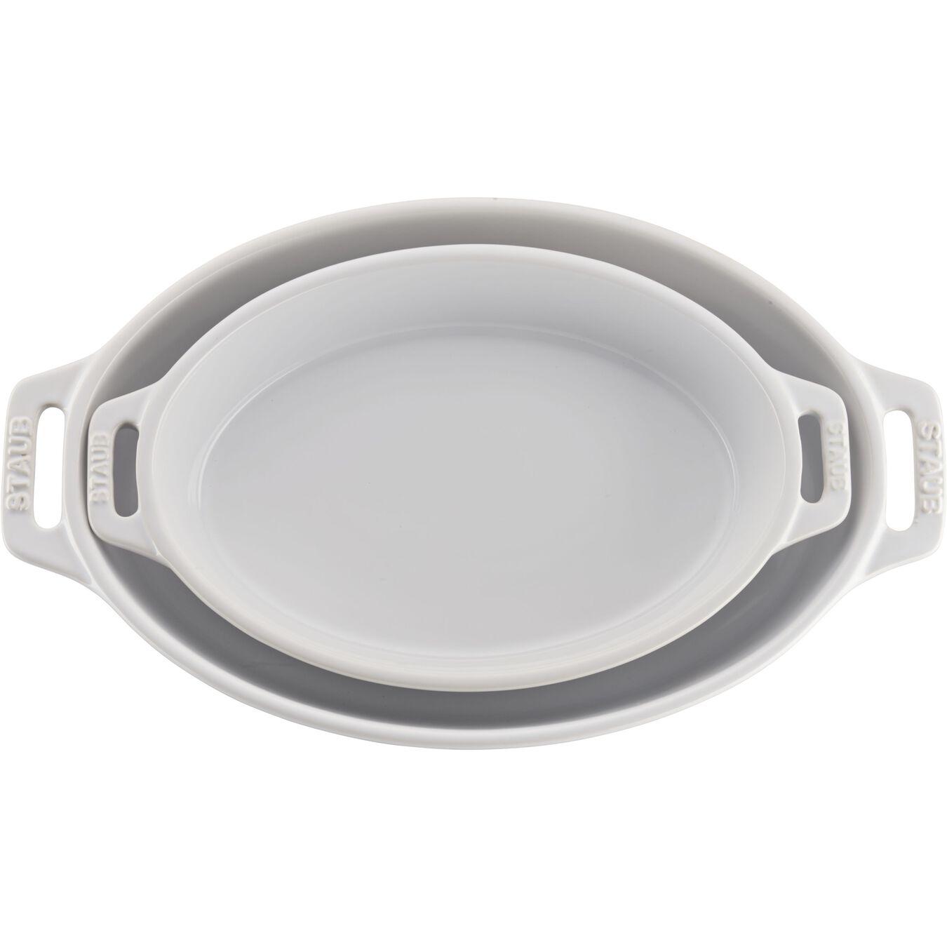 2-pc, oval, Bakeware set, white,,large 1