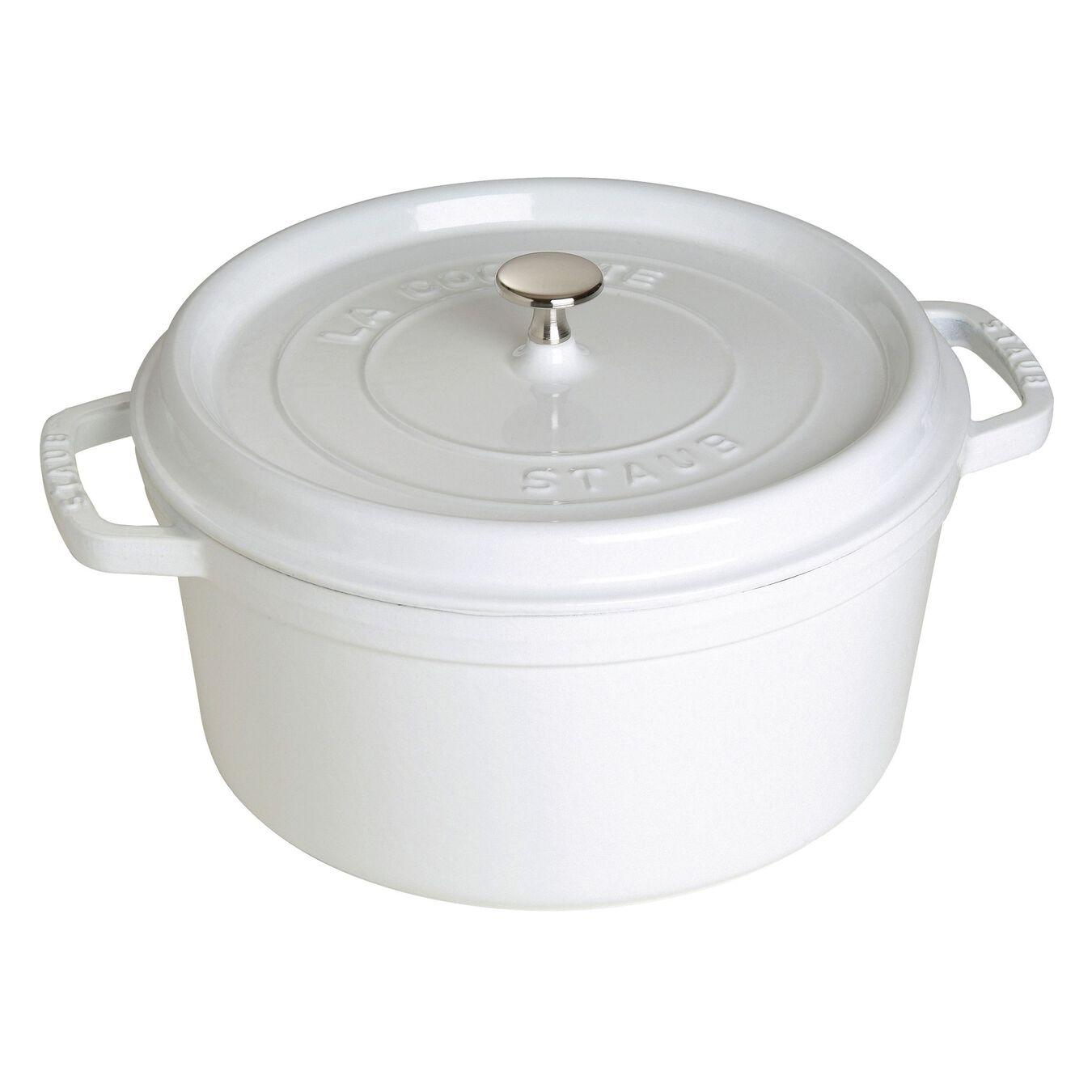 7-qt, round, Cocotte, white,,large 1
