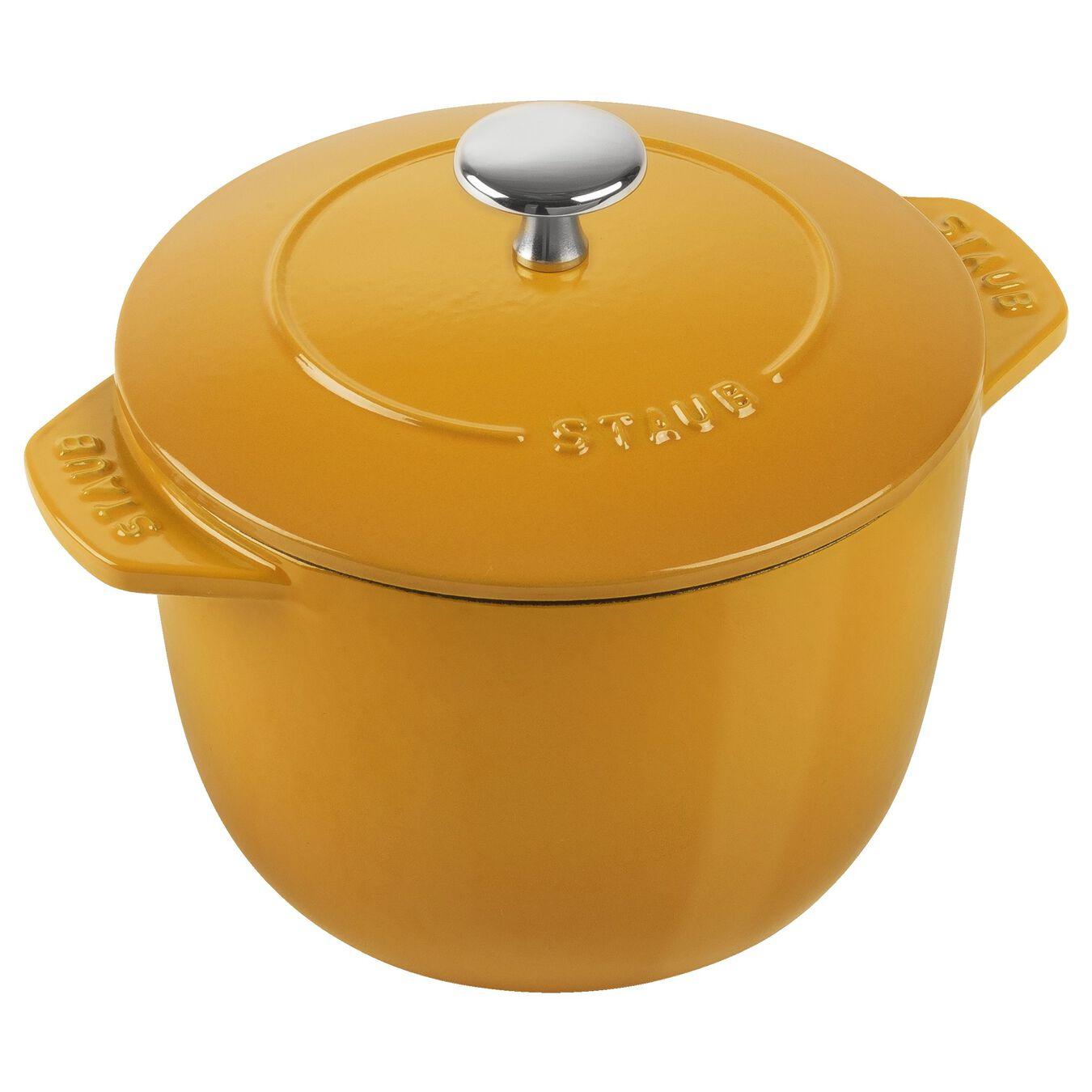 1.5-qt round Cast iron Rice Cocotte, Saffron,,large 1