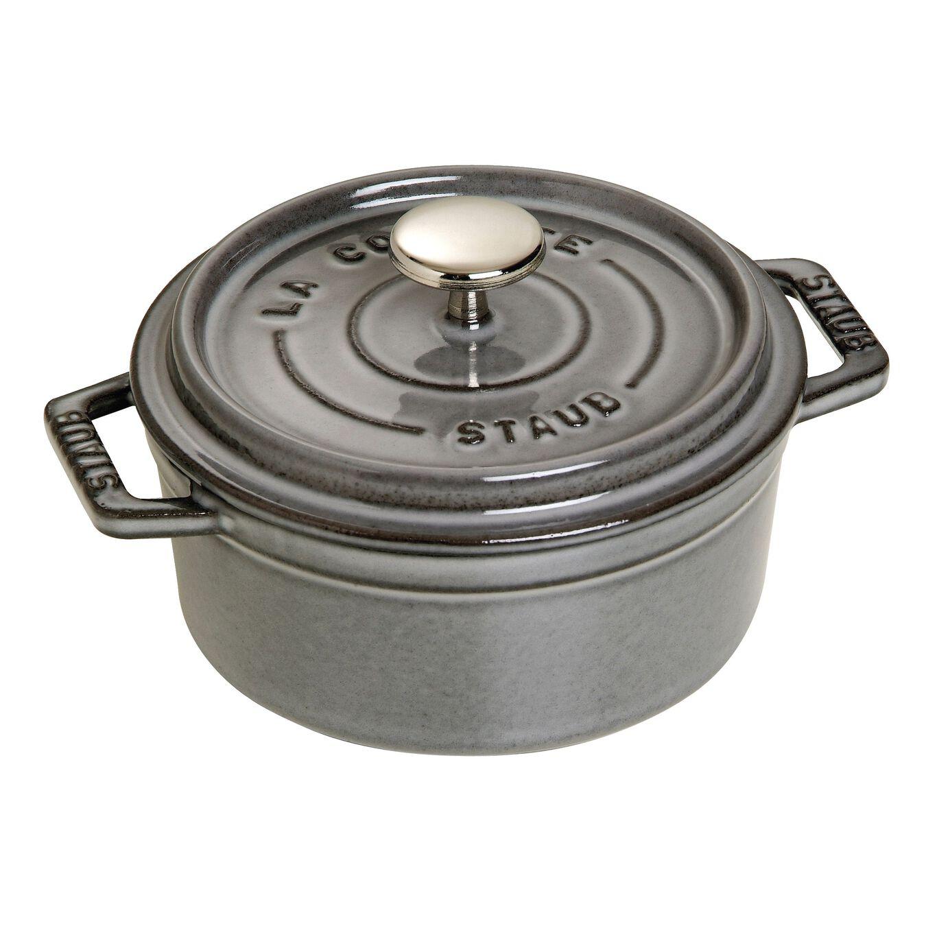 Cocotte en fonte 12 cm / 400 ml, Rond, Gris graphite,,large 1